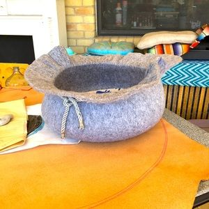 Felted wool formed into bowl shape